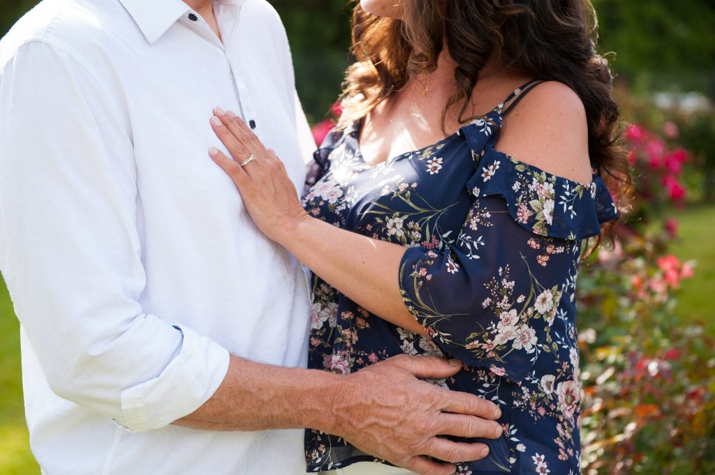 Engagement Session Outfit Inspiration with Floral Blouse | Engaged Couple Photographed by Tacoma Wedding Photographer Amanda Howse