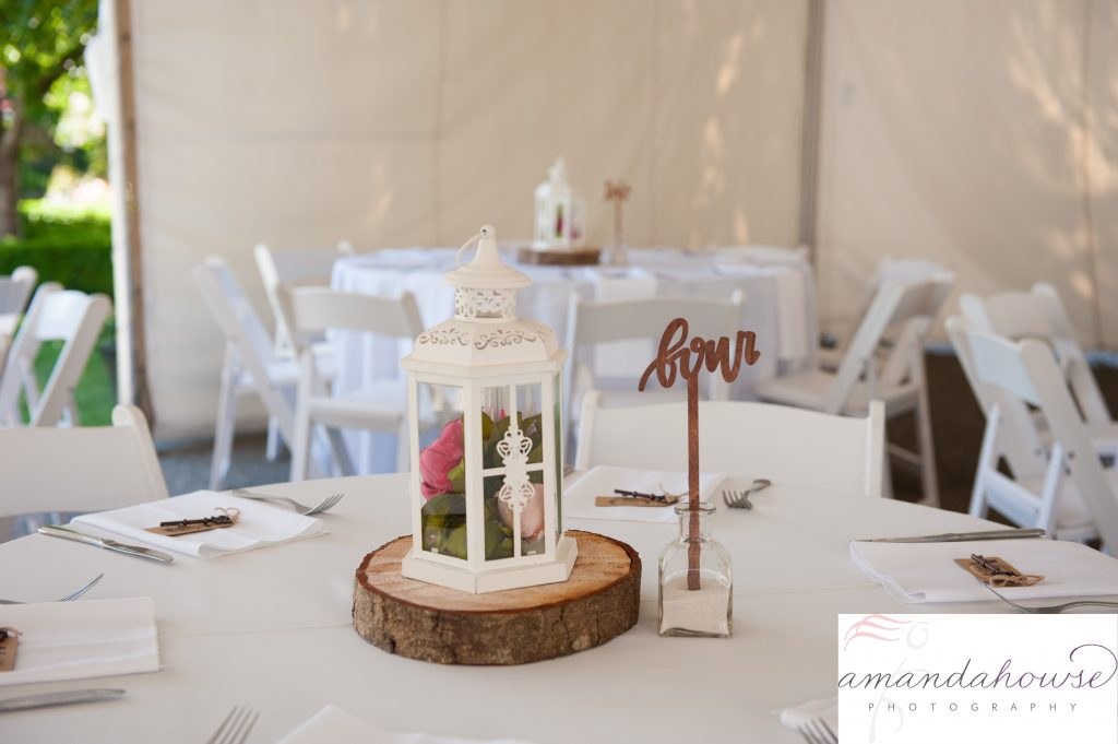 Rustic Table Decor Centerpieces at Enumclaw Wedding Venue Photographed by Tacoma Wedding Photographer Amanda Howse