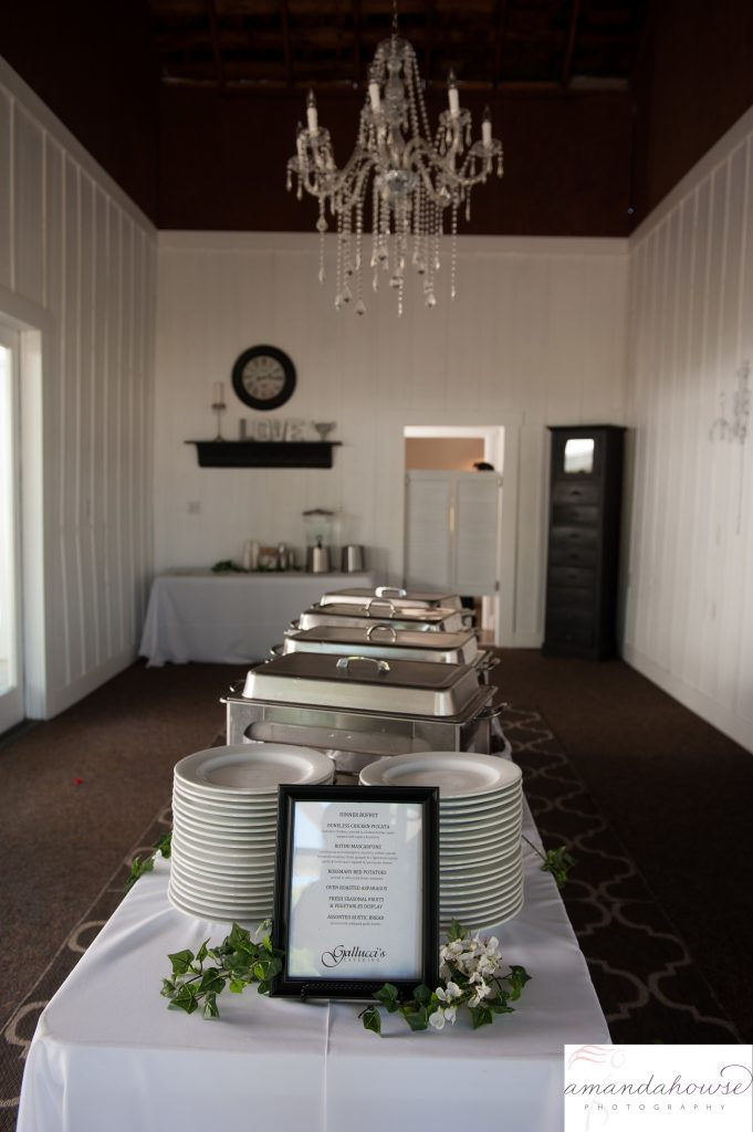 Buffet Setup in Rustic White Barn at Genesis Farm and Gardens Photographed by Tacoma Wedding Photographer Amanda Howse