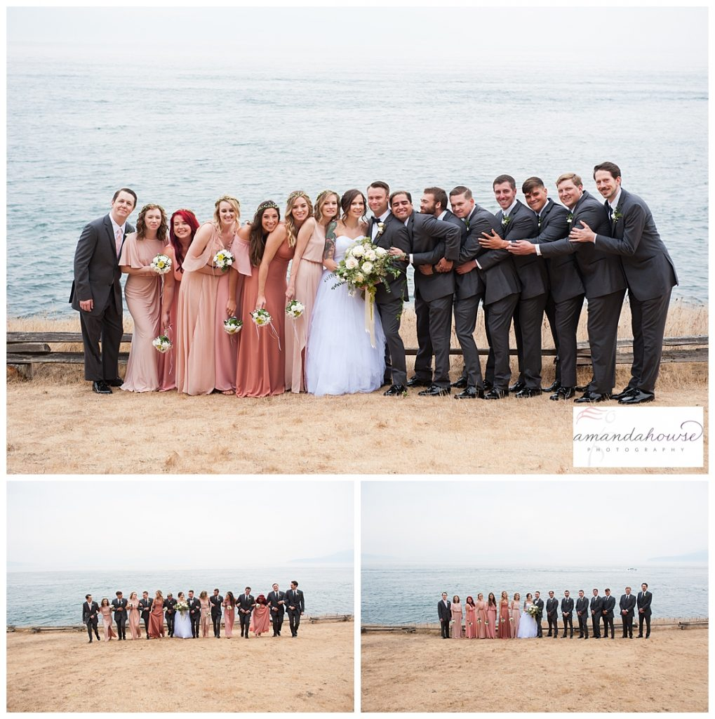 Fun wedding party portraits on the beach | Photographed by Tacoma Wedding Photographer Amanda Howse