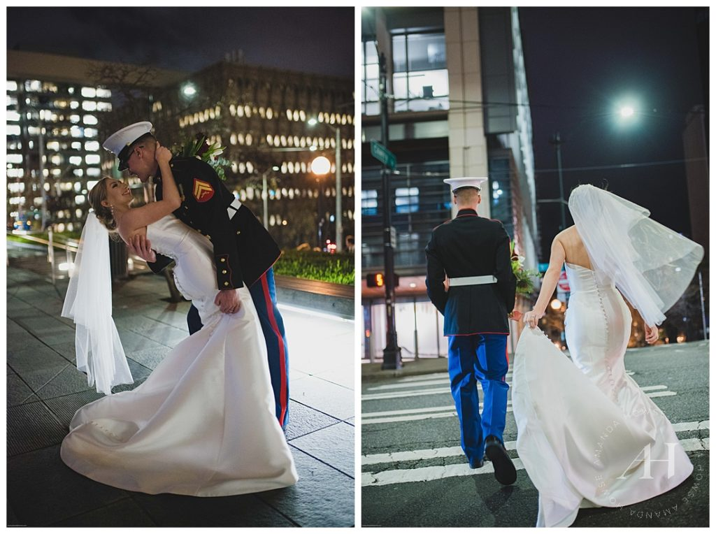 New Year's Eve Elopement Portraits with City Lights | Bride and Groom Walking in Crosswalk after Courthouse Elopement | Photographed by Tacoma Wedding Photographer Amanda Howse