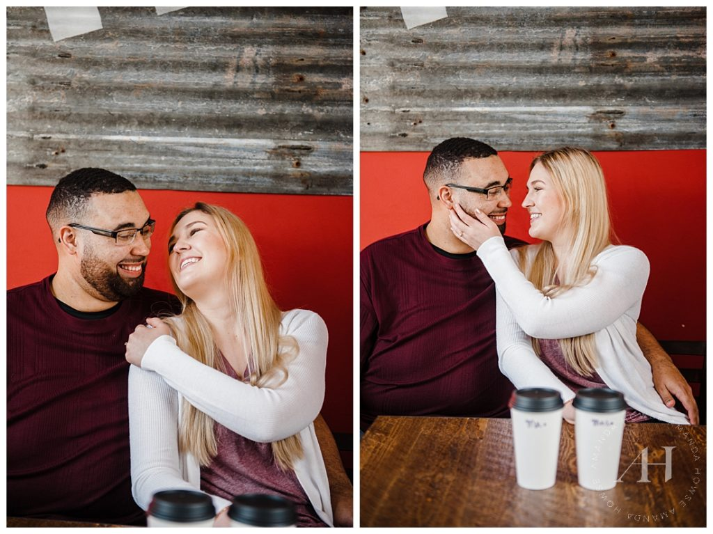 Coffee Shop Engagement Portraits with Colorful Wall and Matching Lattes | Photographed by Tacoma Photographer Amanda Howse