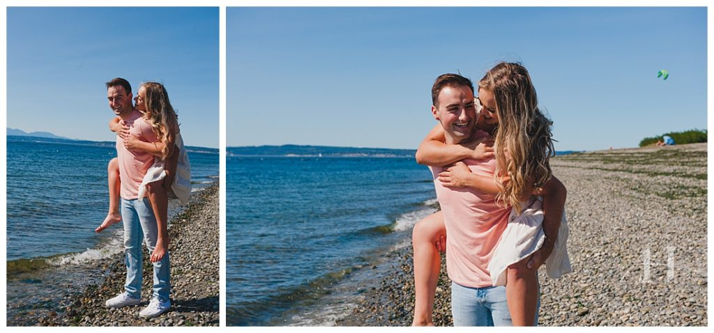Couple Portraits with Piggy Back Rides | Pose Ideas for Candid Portraits | Photographed by Amanda Howse