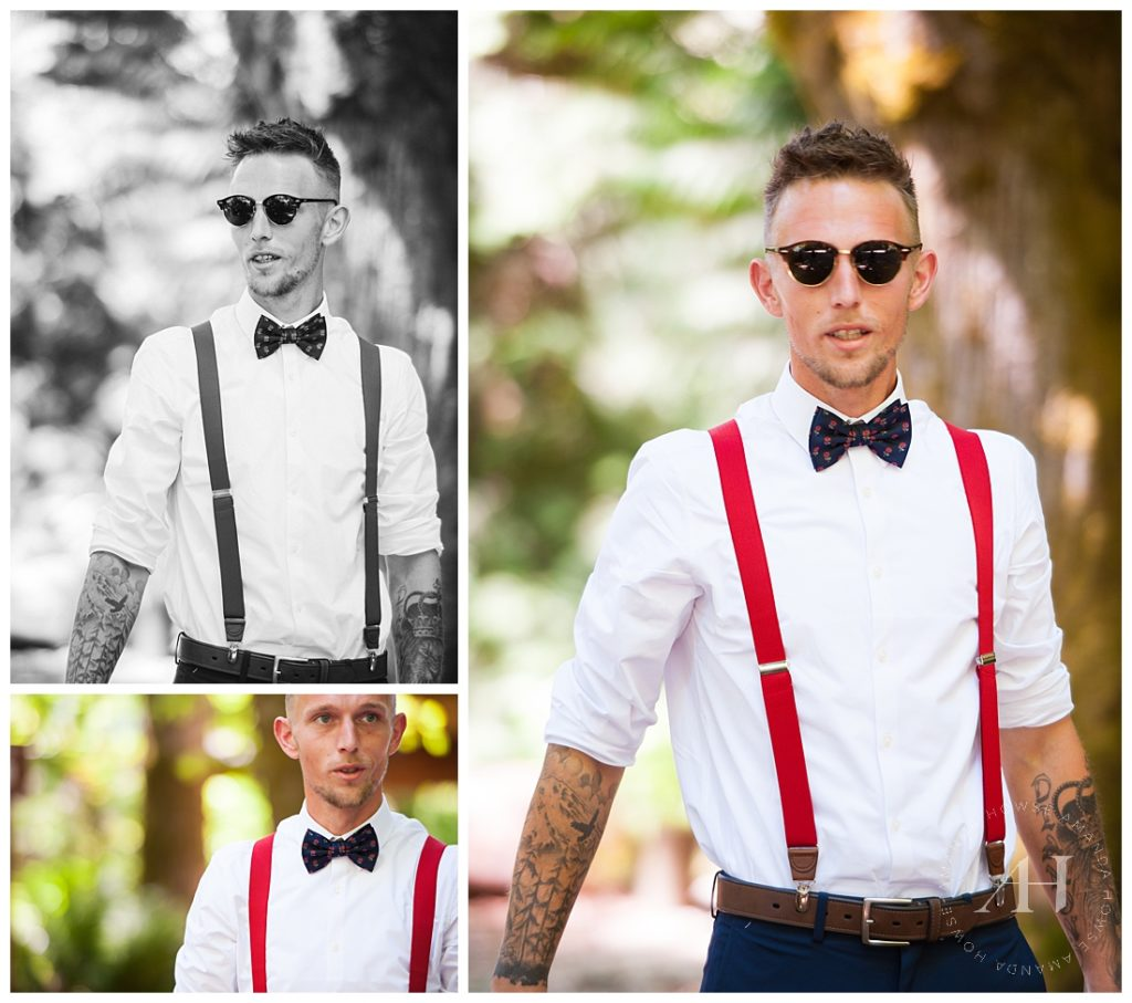 Groom Style | How to Style a Bow Tie and Red Suspenders for Your Wedding Day, Unique Groom Outfits, Fun Groom Style | Photographed by Tacoma's Best Wedding Photographer Amanda Howse