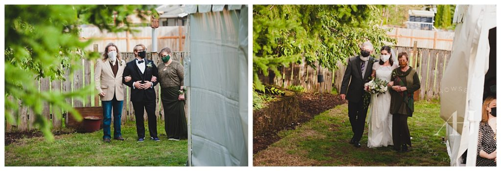 Bride and Groom Walking down the Aisle with their Parents | Intimate Backyard Wedding with Immediate Family | Photographed by the Best Tacoma Wedding Photographer Amanda Howse